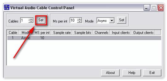 Кнопка Set в Virtual Audio Cable