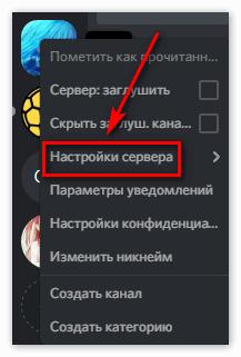 Пункт Настройки Сервера в Discord