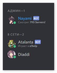 Участники сервера в Дискорд
